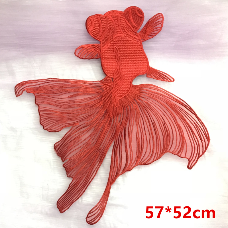 Transer Cute Goldfish Embroidered Sew Iron On Patch Fabric Bag Clothes Applique Trim S, Red # 1