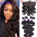 Lace Frontal Closure With Bundles Brazilian Body Wave Ali Moda 7A Brazilian Virgin Hair With Frontal Closure Human Hair Weaves