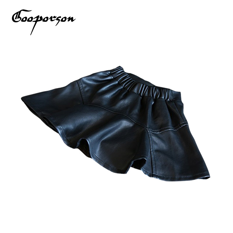 New Brand Girls Faux Leather Black Skirt Baby Kids Basic Autumn Spring Skirt For Children Clothes Girls Mini Skirt Tutu Retail