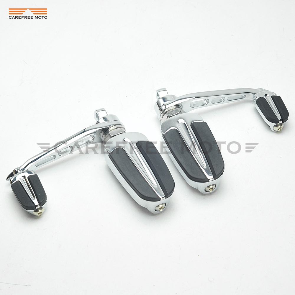 Chrome Motorcycle Slipstream Foot Pegs Moto Heel Rest Footrest Case for Harley Sportster Model FXWG FXST FXLG FXR