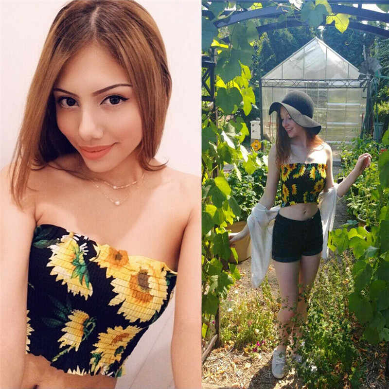Vrouwen Boob Tube Top Zonnebloem Bustier Sheer Crop Top Gewikkeld Vest 2019