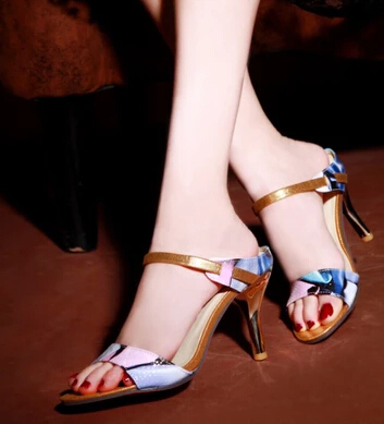 patent leather high heeled shoes 2016 new print sexy open toe gladiator style pumps font b