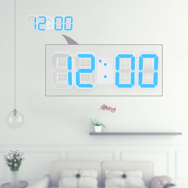 LED Digital Wall Clock 12H24H Time with Alarm and Snooze Function
