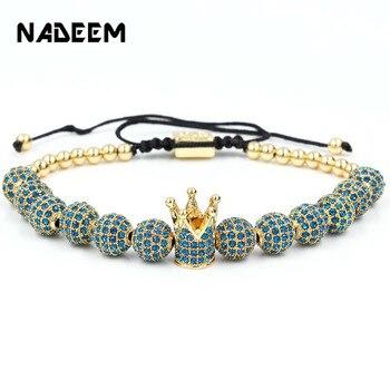 Wholesale fashion men bracelet jewelry Braiding Macrame CZ copper beads Crown Bracelets for women pulseira masculina bileklik