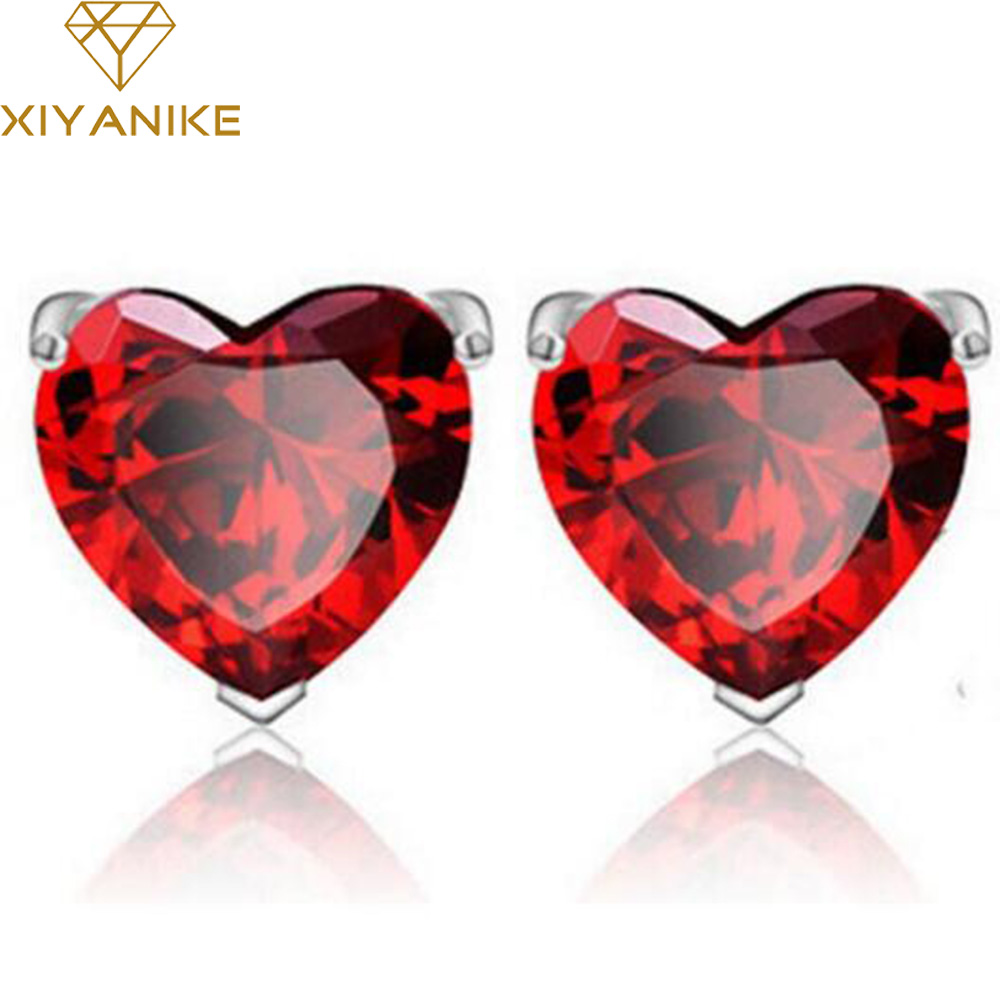 New Plating Silver Earring Red Garnet Heart Highgrade Zircon Crystal  Earrings For Women Birthday