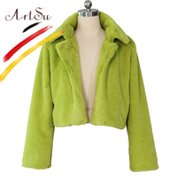 ArtSu Fashion Party Faux Fur Coat Women White Green Burgundy Blue Elegant Shaggy Winter Fur Coat Jacket Plus Size Short Overcoat