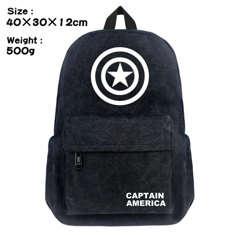 Comics Captain America School Backpack Student Bookbag Cap Boys Girls Black Shoulder Laptop Travel Bags Casual Bags Gift anime game zelda link school backpack for boy girls bags cartoon student bookbag unisex color shoulder laptop travel bags