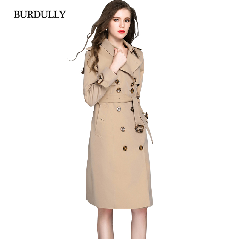 BURDULLY 2018 Vintage Casual Loose Long Breathable Cotton   Trench   Turn-down Collar Double Breasted Coat Women X-Long Slim Solid