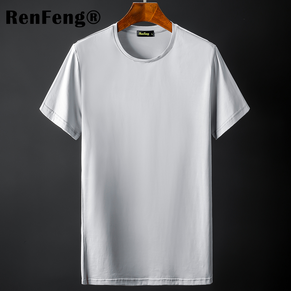 New Blank black Mercerized Cotton Short Sleeve Men\`s T-Shirt Underwear Round Collar Ice Silk Cool T-Shirt Slim Blusa Tops Summer (9)