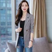 b New 2019 women Formal Suits for Women Fashion Designer  Female Long Sleeve Jacket Slim Overcoat Feminino