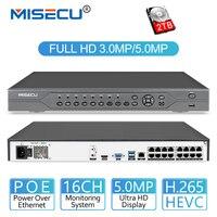 MISECU H.265 16CH 5MP 4MP 3MP 48 V Настоящее POE NVR XMEYE P2P ONVIF сетевого видео Регистраторы для POE IP Камера CCTV Системы с 4 ТБ HDD