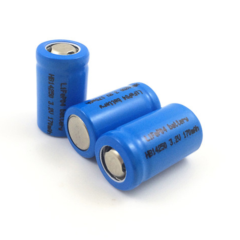 4pcs Lifepo4 IFR 3.2v <font><b>14250</b></font> <font><b>rechargeable</b></font> lithium ion battery cell 1/2AA SIZE 170MAH for camera and solar led light image
