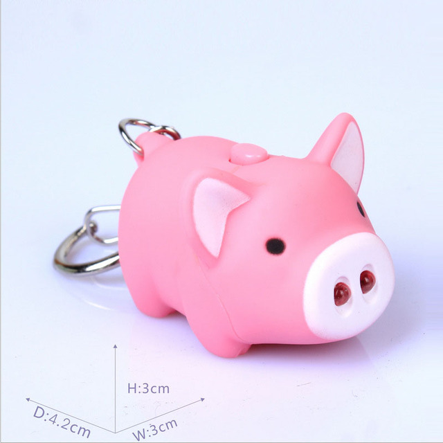 New Arrival LED Flashlight Keychain With Sound Aminal PIG Action Toy Figures Little Pig Toys Keychain Gift For Child Kids Toys