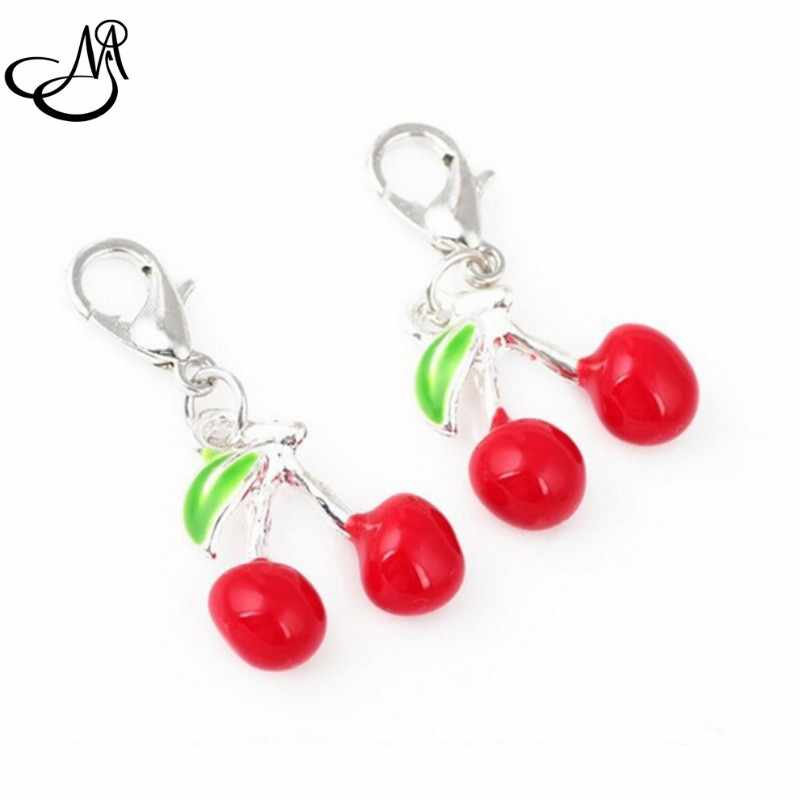 20pcs/lot Red Enamel Cherry dangle charms lobster clasp charms for glass memory floating pendant lockets FA114