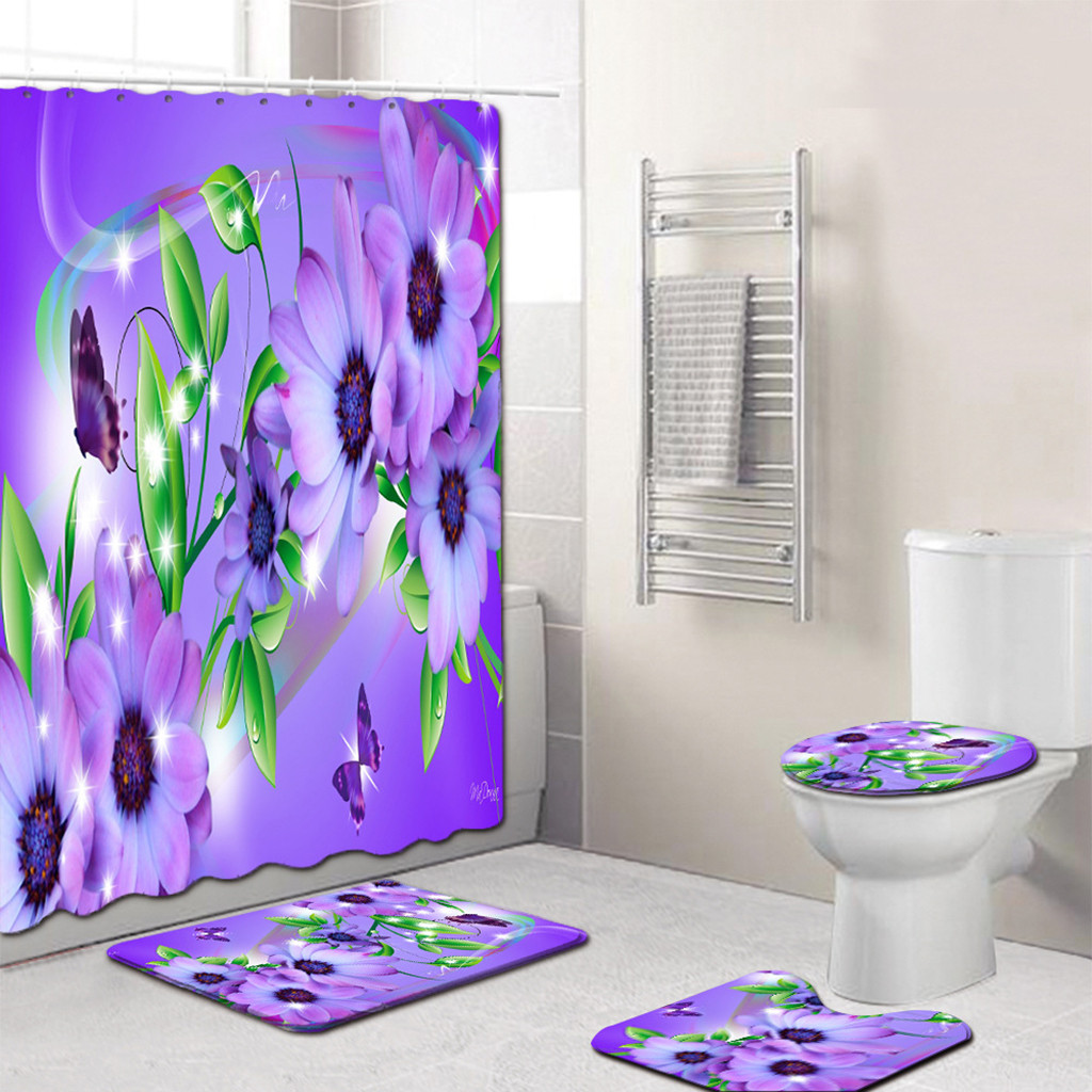 Butterfly Bathroom Curtain Set Made With PVC Material For Bathroom And Toilet Use 3