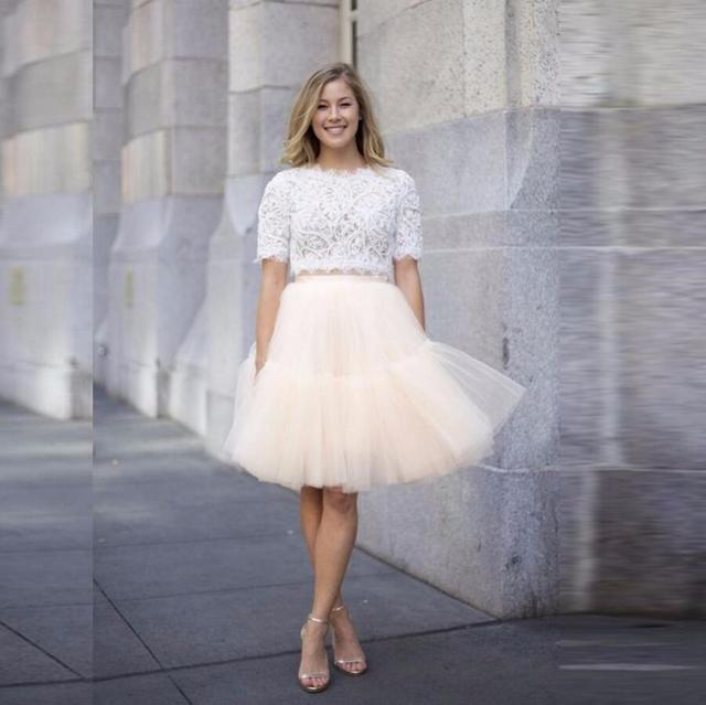 e4ed6c7ce45e7 Elegant Ivory Pleated Tulle Skirt Knee Length Skirt Custom Made Fashion  Casual Style Tutu Skirts Women