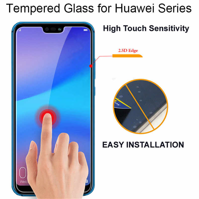 2.5D 9H Glass on Film For Huawei Y5 Y6 Y7 Prime 2018 Y9 P30 Lite HD Tempered Glass Screen Protectors For Huawei P Smart 2019 P30