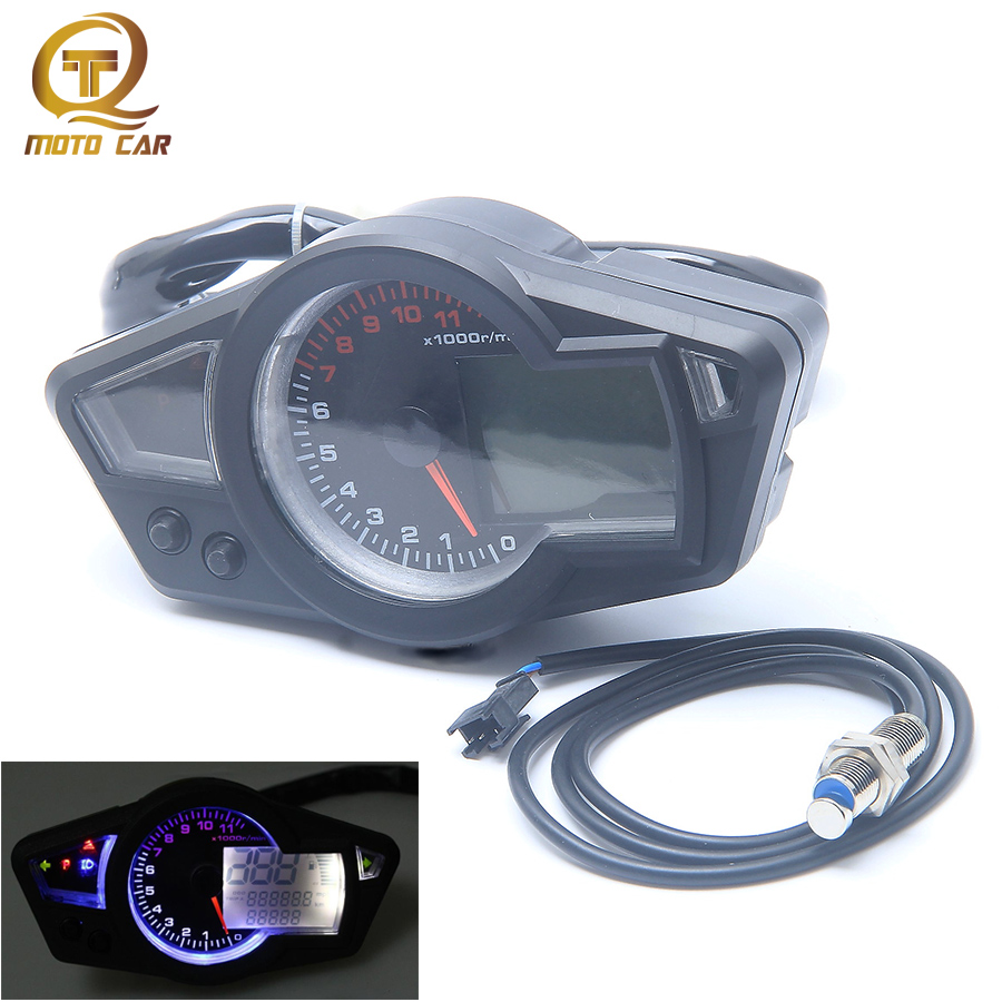 Motorcycle Instrument Waterproof LCD Digital Speedometer 11000RPM DC 12V Tachometer Odometer Water Temperature Meter Backlight
