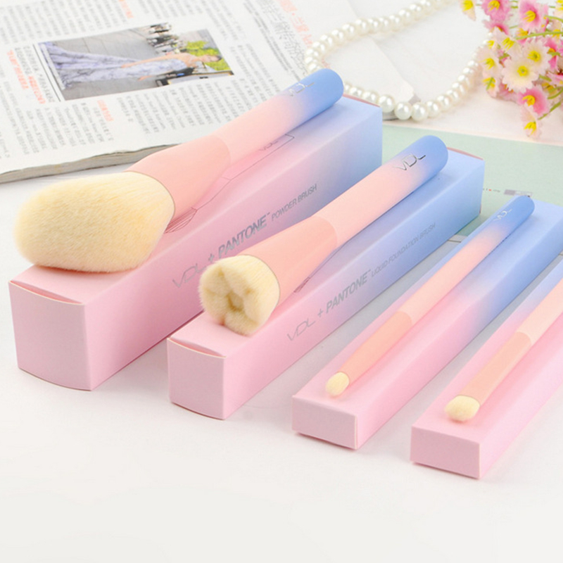 Gradient Color Pink Powder Makeup Brushes Pantone 4pcs Set maquillaje Brush con caja