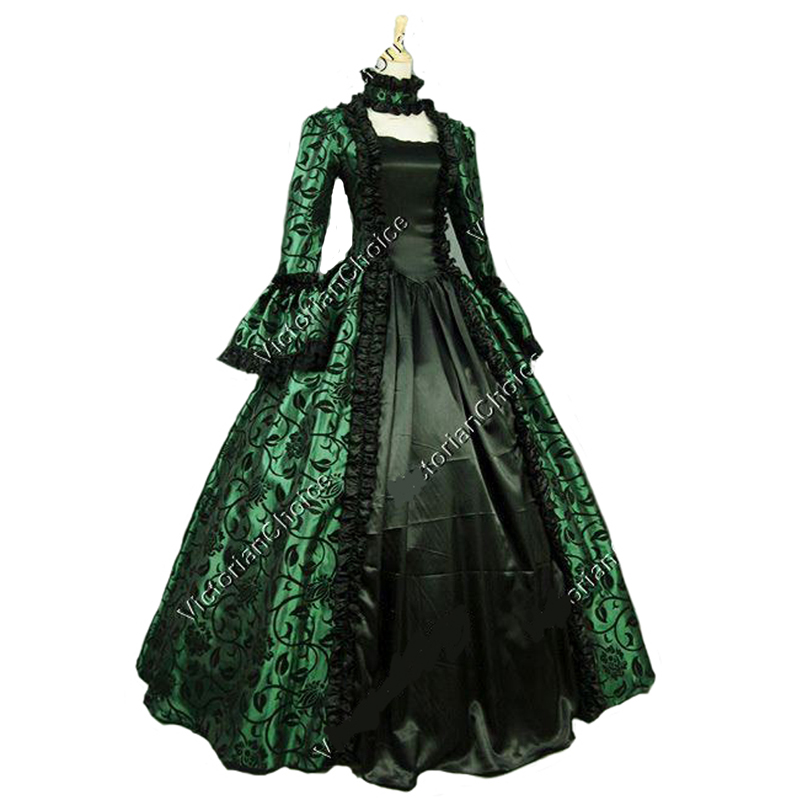 Royal Blue Printing Vintage Renaissance Gothic Queen Dress Ball Gown Steampunk Clothing