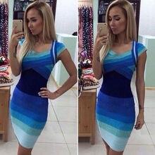 Neue Mode Blau Frauen Sexy V-ausschnitt Sleeveless Bodycon Kleid-abend-partei Kurzes Minikleid