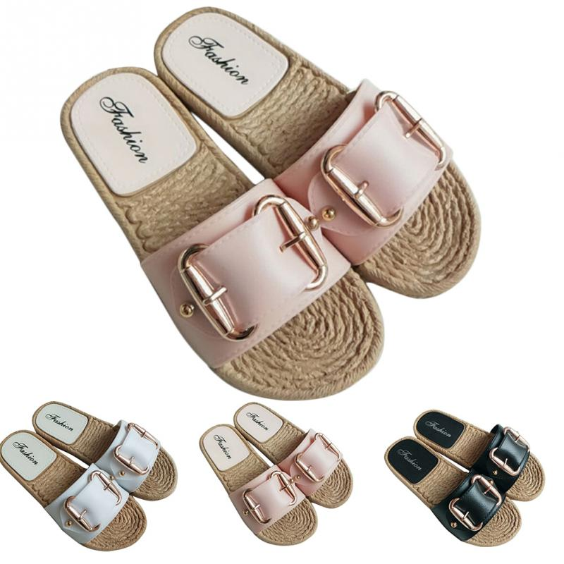 Fashion Flax Buckle Home Slippers Women Indoor Shoes Ladies Outdoor Mules Slippers Summer Beach Sandals Slides Zapatos MujerFashion Flax Buckle Home Slippers Women Indoor Shoes Ladies Outdoor Mules Slippers Summer Beach Sandals Slides Zapatos Mujer