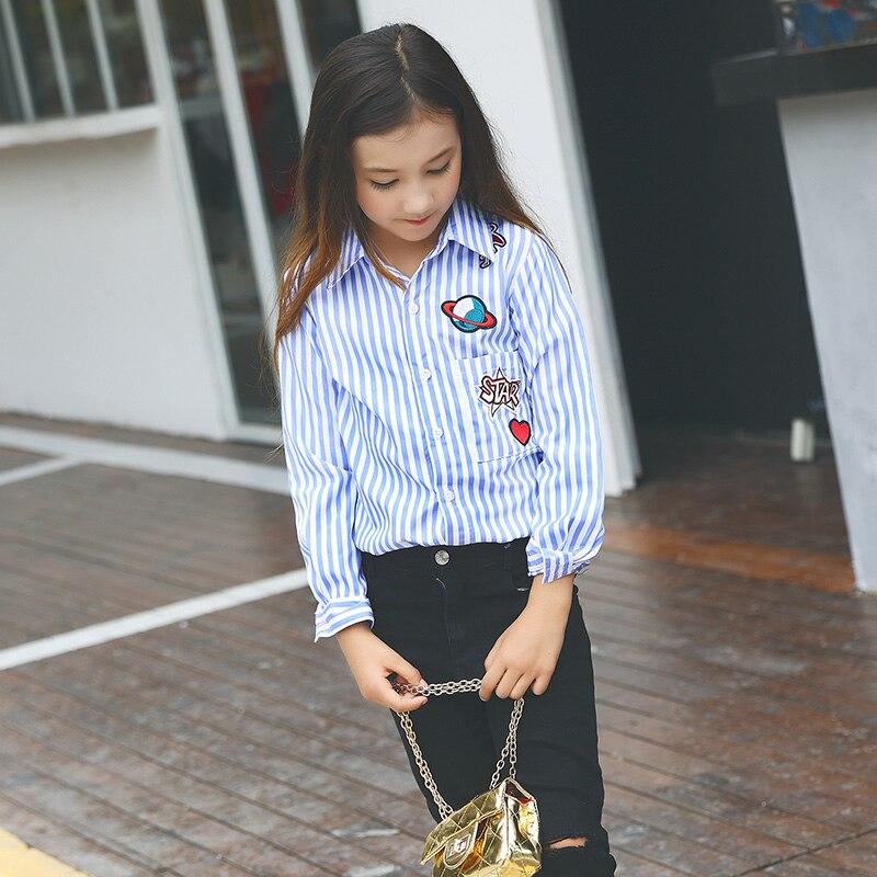 a064d6cfb Teens Girl Blouse Tops Female Big Children Long Sleeve Striped Shirt Korean  Autumn Shirt Lapel Casual