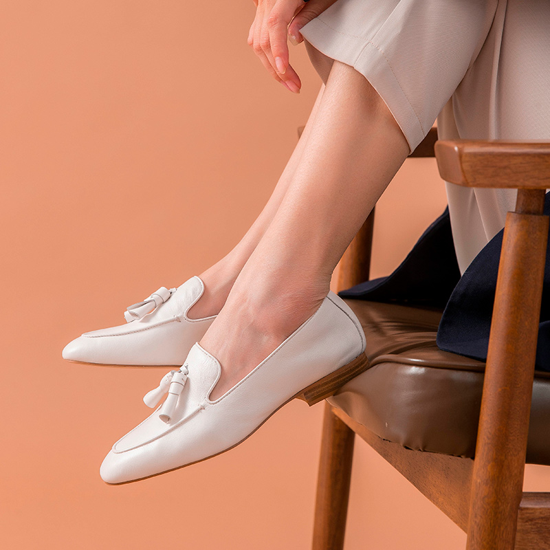 BeauToday mocasines mujeres cuero de vaca genuino flecos punta cuadrada Slip On primavera otoño señora pisos hecho a mano 27147-in Zapatos planos de mujer from zapatos    3