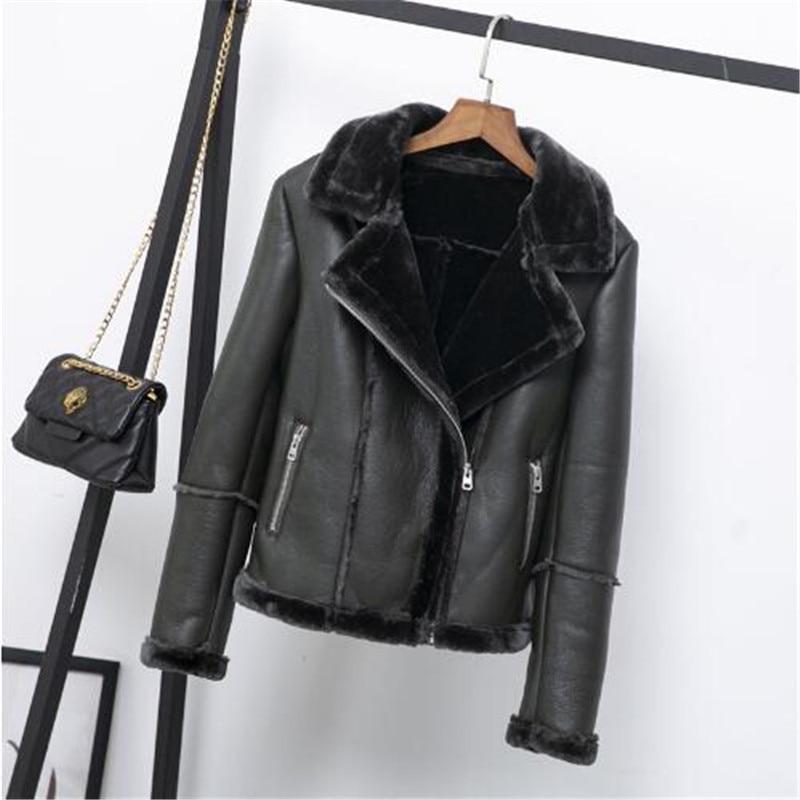 2019 Women Winter Faux Lamb   Leather   Jacket Black Pink Punk Lambs Wool Fur Collar Jacket Female Warm Thick Outerwear