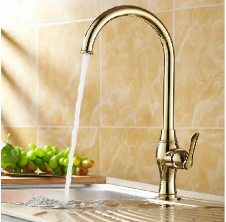 Kitchen faucet Golden Copper cold and hot water tap Sink faucet Vegetable washing basin sink mixer