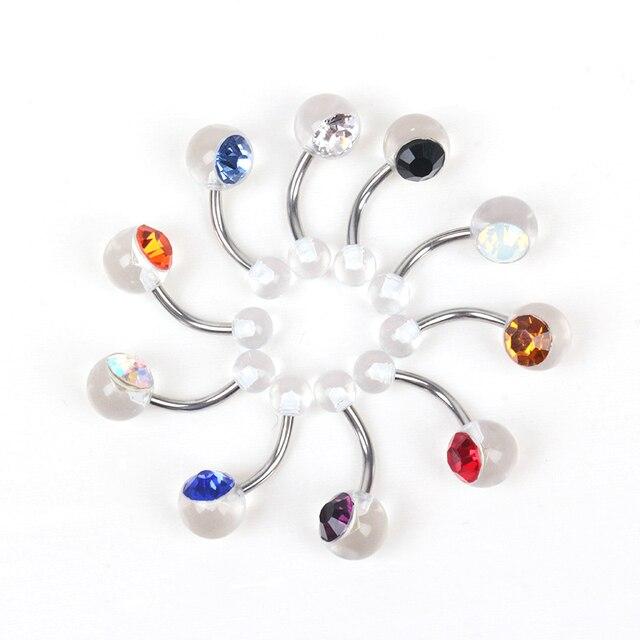 Купить кольцо для пирсинга пупка из хирургической стали с одним кристаллом