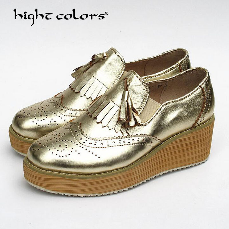 hight colors 2018 New Women Oxfords British Cow Leather Platform Flats Spring Round Toe Slip-on Casual Shoes Woman F-022 hee grand 2017 new women oxfords british pu patent leather platform flats spring round toe slip on casual shoes woman xwd3511