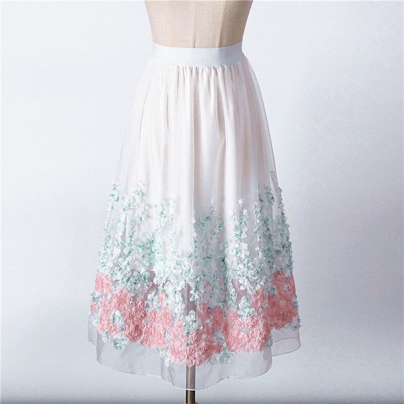 cd77ac888 € 11.46 50% de DESCUENTO 2017 nueva falda de tul de Organza para mujer  falda blanca de cintura alta Midi apliques Floral Sakter Falda Mujer tutú  ...
