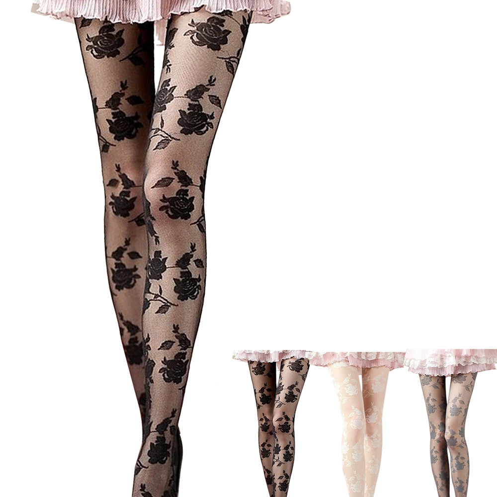 Hot Sale Women Fashional Sexy Ultra Sheer Summer Tights Elegant Rose Pattern Silk Pantyhose Female Tights Stocking Drop Shipping