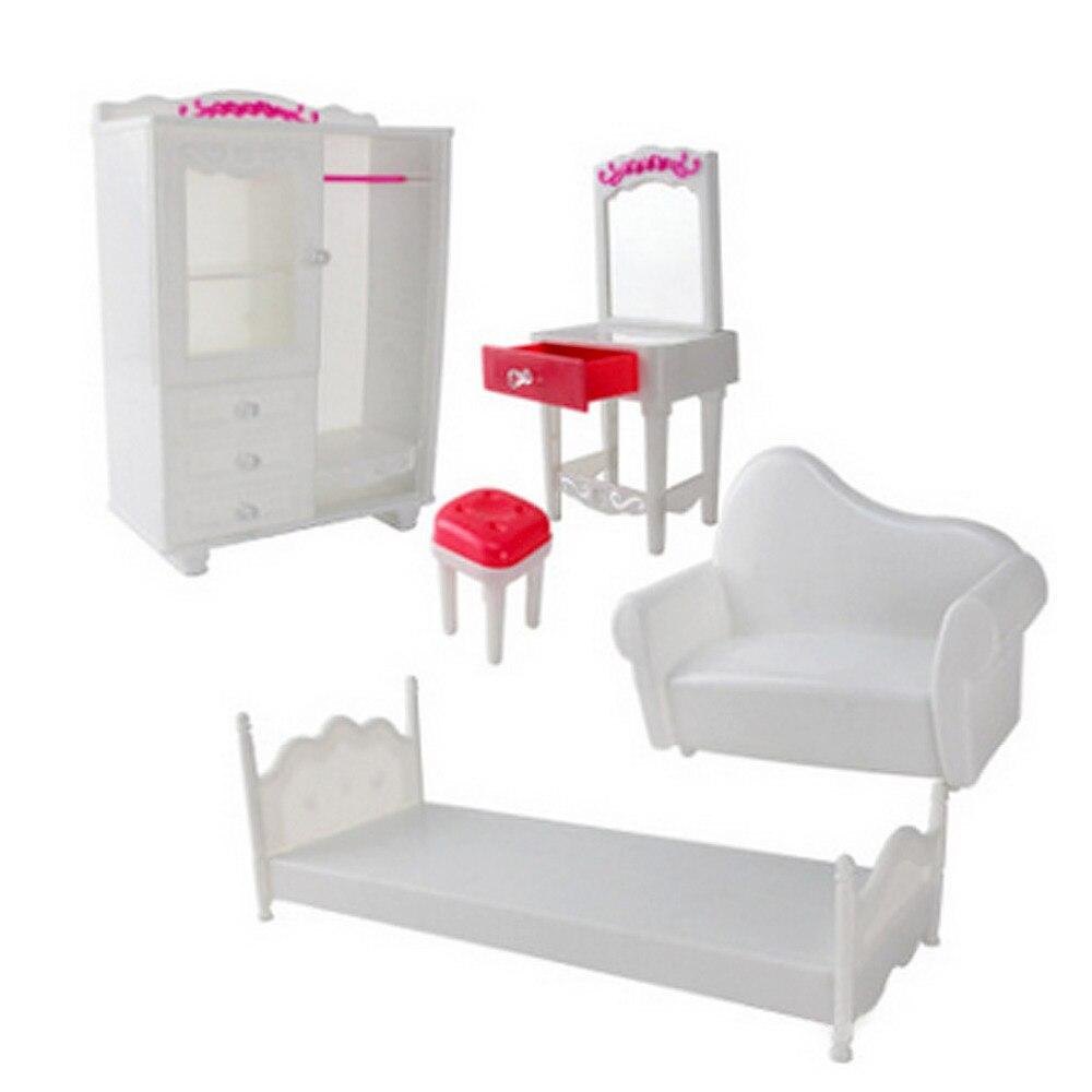 Besegad 5 PCS Doll Furniture Accessories Kit Wardrobe Dresser Chair ...