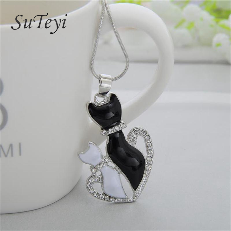 SUTEYI New Patty Cat White Black 2 Cat On Heart Crystal Pendant Necklace Small Cat Jewelry For Women Girl Best Friend Gift