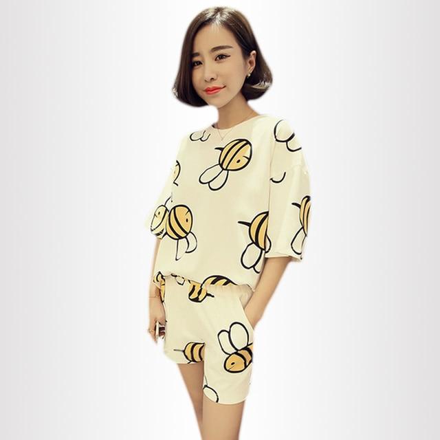 da7cc8e633e2 Summer pajamas set ladies milk silk short sleeve shorts cute little bee  girl thin student home clothing suit free shipping