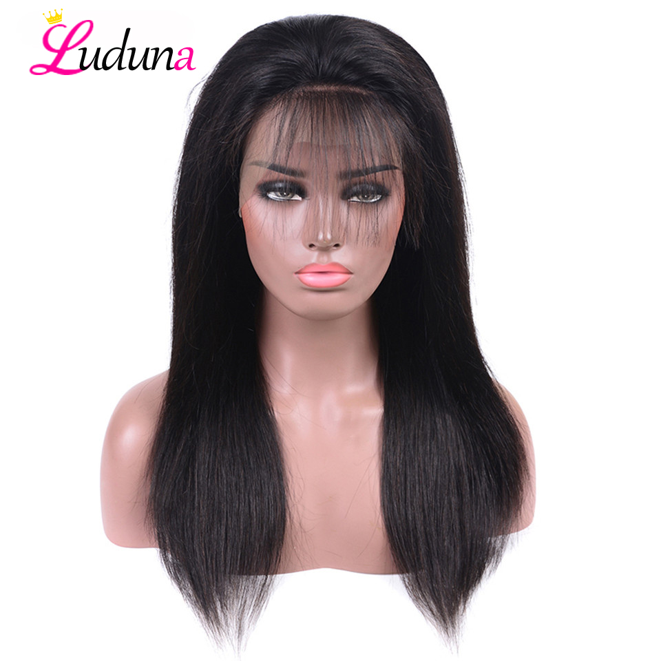 StraightLace Front Human Hair Wigs For Black Women Brazilian Hair Lace Closure WigsPre Plucked With Baby Hair Remy Luduna