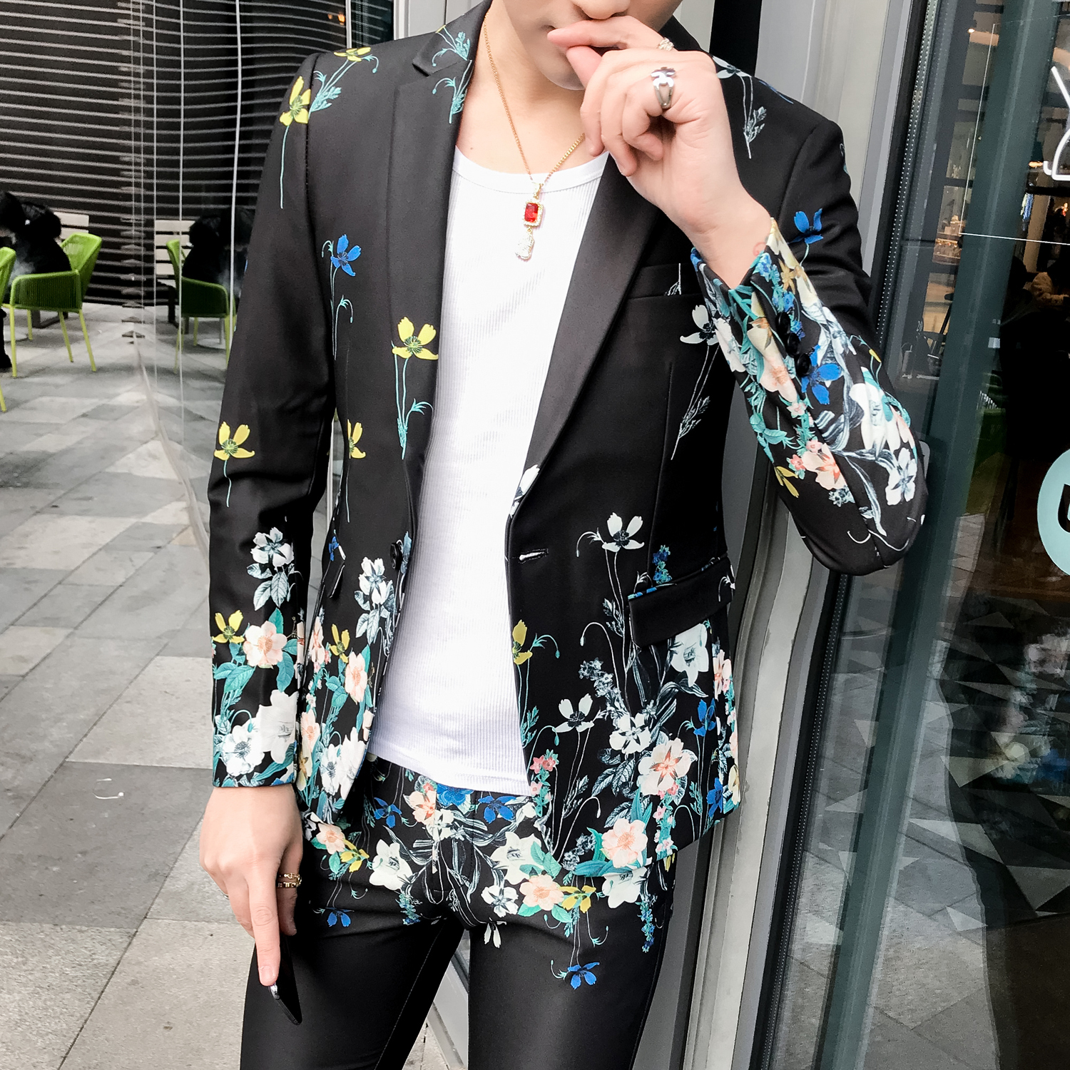 2019 Mens Slim Fit Blazer Jacket Wedding Dress Suit Casual Stylish Blazers For Men Flower Print Dj Singer Blaser Masculino