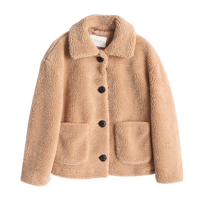REJINAPYO Women Faux Thick Warm Fur Turn-down Collar High Street Jacket Coat Chic Single Breasted Outerwear for Autumn Winter
