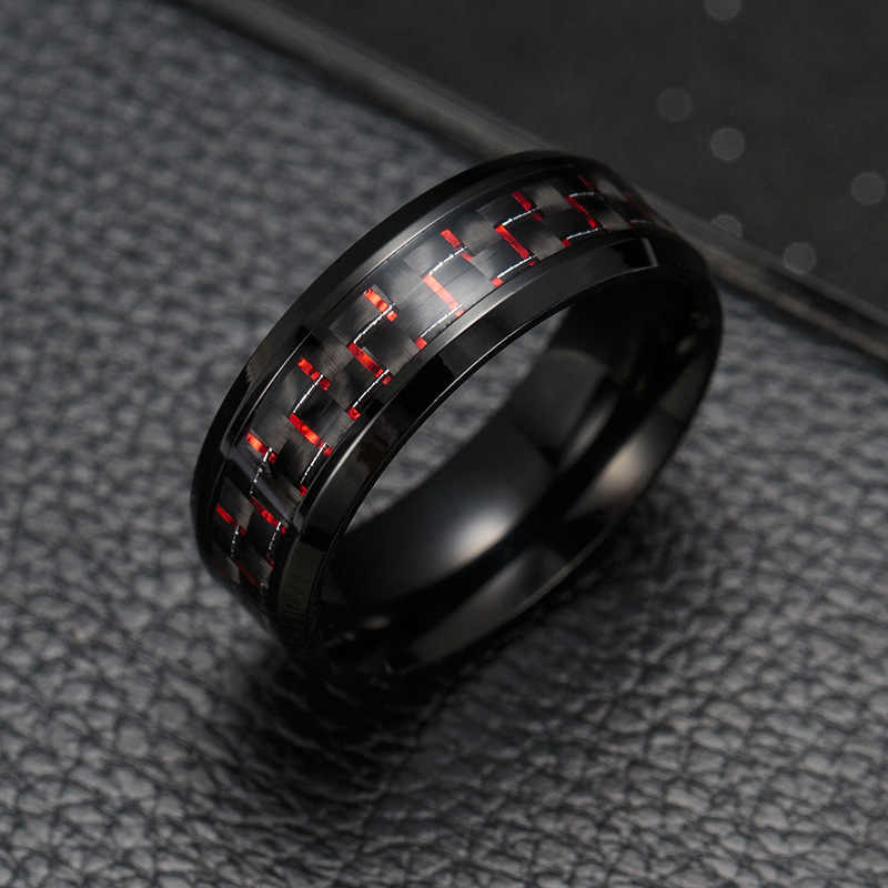 2020 Titanium Staal Black Carbon Fiber Ringen Fashion Rood Blauw Ring Anel Masculino Mens Cool Sieraden