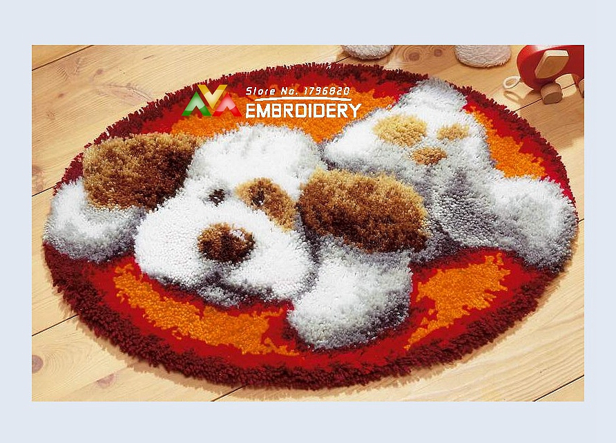 Free Shipping DIY Needlework Kits Unfinshed Crocheting Yarn Mat Latch Hook Rug Kit Floor Lovely Dog 4 Picture Carpet Set In From Home