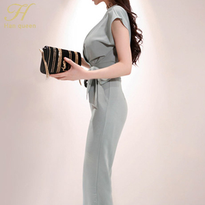 Image 5 - H Han Queen New 2 piece Suits Women 2019 Summer Elegant V neck Lace Up Crop Top & High Waist Solid Color Long Pants OL Work Set