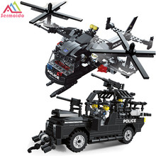 sermoido Building Blocks Sets SWAT Team Transport Helicopter Compatible With Legoings City Police Gift Toys for Children Kids