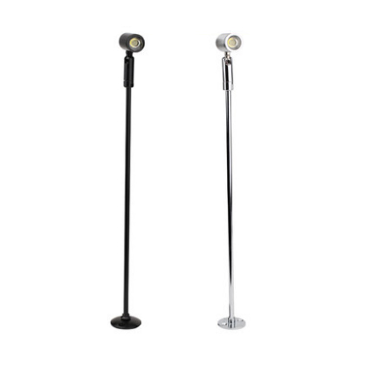1W LED Picture Light Desk Lighting Stand Pole Lamp Spotlight Jewelry/Phone Store Showcase Display Case Silver/Black Shell