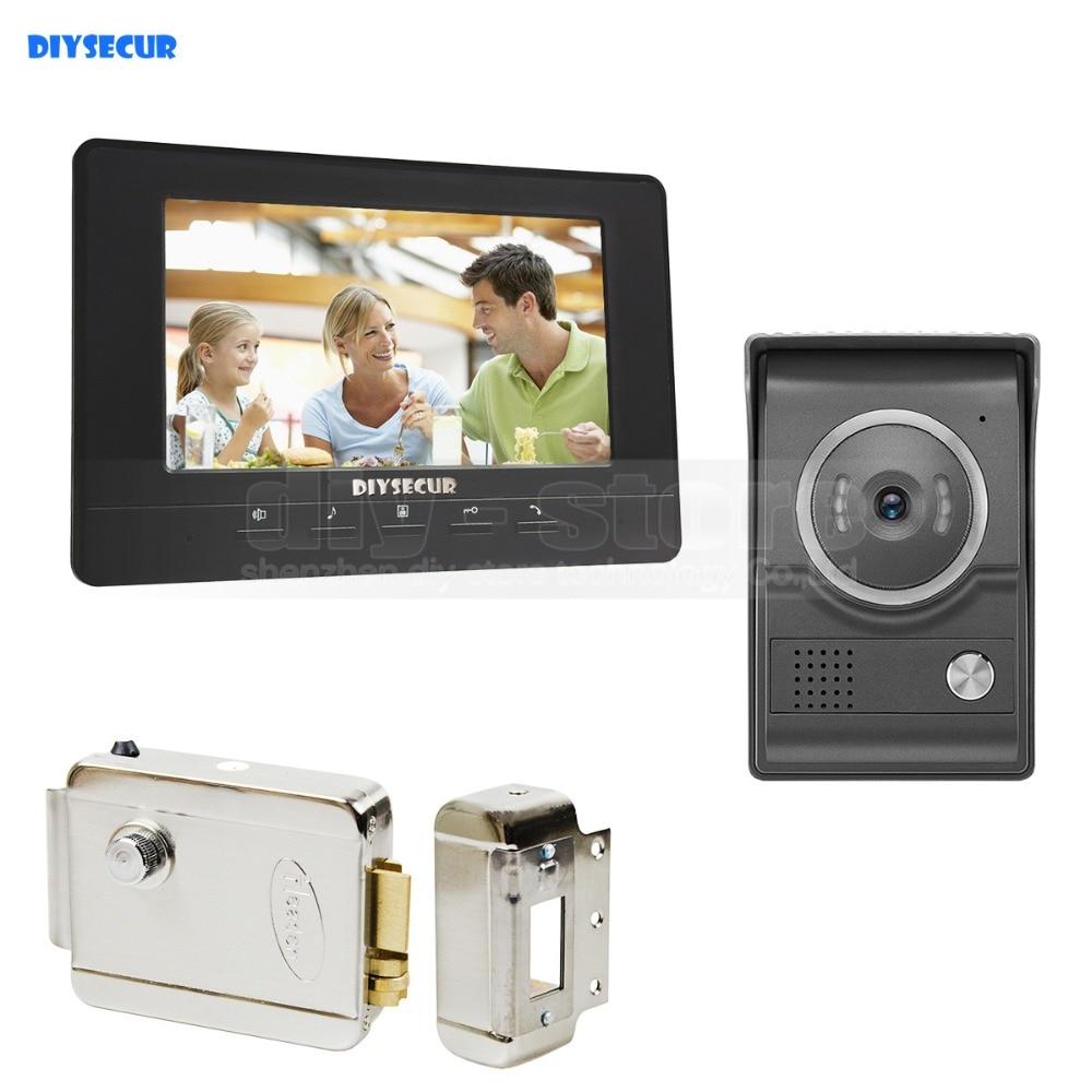 DIYSECUR 7inch Video Intercom Video Door Phone 700TV Line IR Night Vision HD Camera + Electric Lock For Home Office Factory