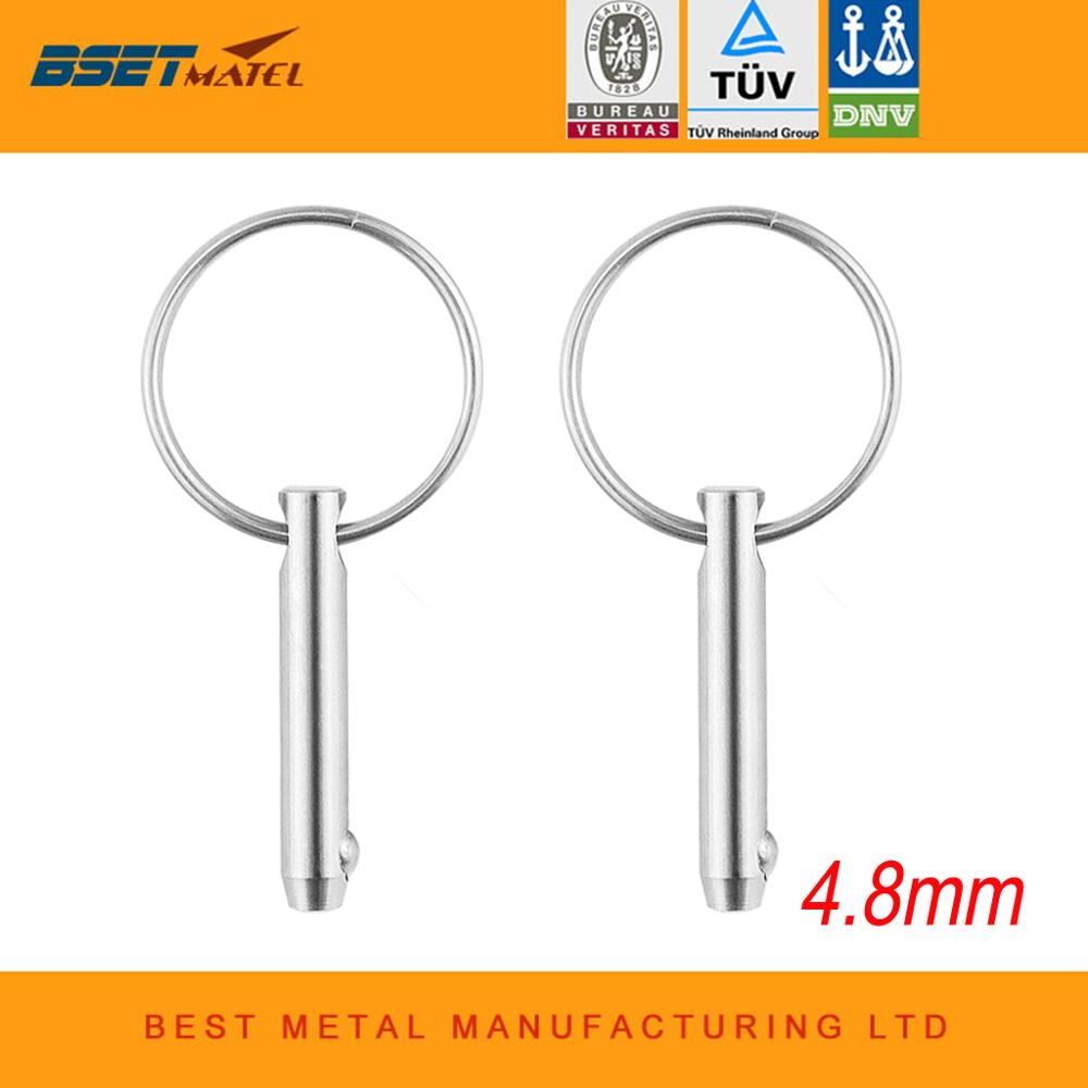 2PCS 4.8*35mm BSET MATEL Marine Grade 316 Stainless Steel 3/16 Inch Quick Release Ball Pin For Boat Bimini Top Deck Hinge