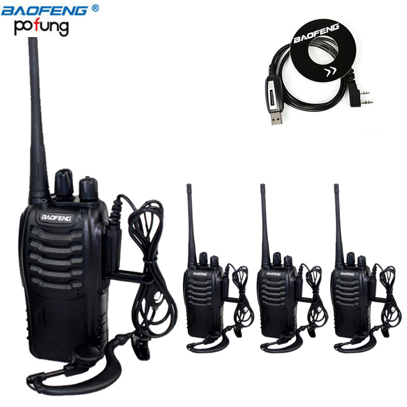 4Pcs Baofeng BF-888S Walkie Talkie UHF Two Way Radio BF888S Handheld CB Radio Set 888S Comunicador Transmitter Transceiver&Cable