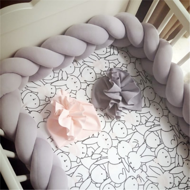 1M/2M/3M Baby Bed Bumper Crib Baby Bumper For Boys Girls Baby Cot Bumper Knot Braid Crib Protector Room Decor