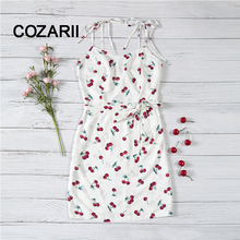 цены Allover Cherry Print Cami bowknot Dress Women Spaghetti Strap Sleeveless Zipper Weekend Casual Dress 2018 Loose Short Dress